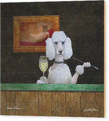 Wood Print featuring the painting Chien Blanc... by Will Bullas