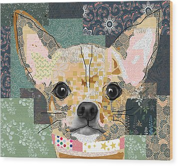 Chihuahua Collage Wood Print by Claudia Schoen