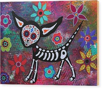 Chihuahua Dia De Los Muertos Wood Print