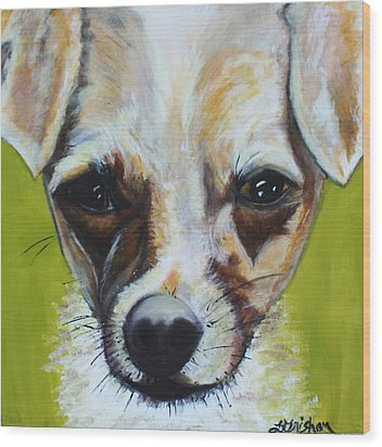 Wood Print featuring the painting Chihuahua Mix- Roxie by Laura  Grisham
