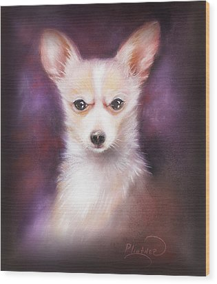 Wood Print featuring the drawing Chihuahua No. 1 by Patricia Lintner