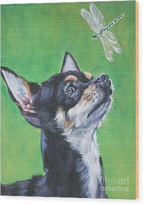 Chihuahua With Dragonfly Wood Print