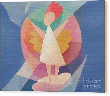Child Angel Wood Print by Lutz Baar