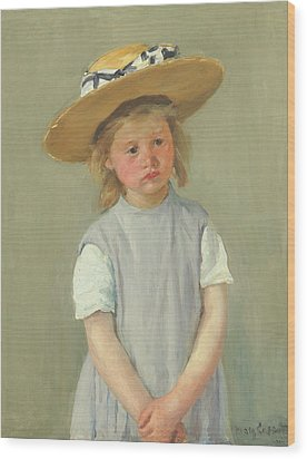 Wood Print featuring the painting Child In A Straw Hat By Mary Cassatt 1886 by Movie Poster Prints