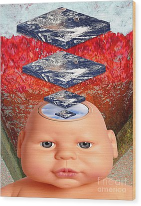Child In Flat Worlds Wood Print by Keith Dillon