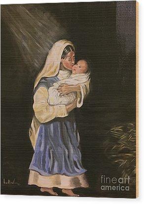Child In Manger Wood Print