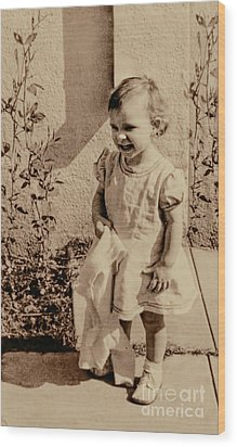 Wood Print featuring the photograph Child Of 1940s by Linda Phelps