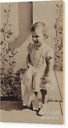 Wood Print featuring the photograph Child Of  The 1940s by Linda Phelps