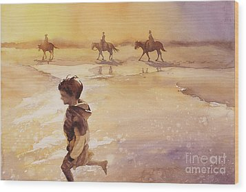 Wood Print featuring the painting Child On Beach- Ocracoke Island, Nc by Ryan Fox
