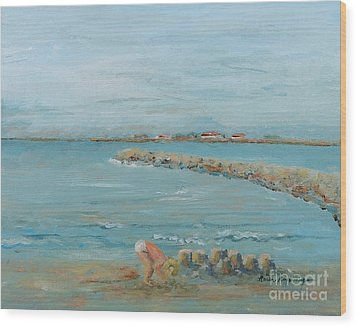Child Playing At Provence Beach Wood Print by Nadine Rippelmeyer