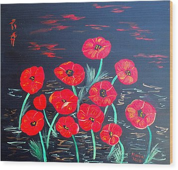 Childlike Poppies Wood Print by Alanna Hug-McAnnally