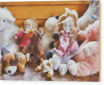 Children - Toys - Childhood Toys  Wood Print by Mike Savad