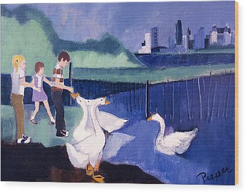 Wood Print featuring the painting Children And Geese In Central Park 1971 by Betty Pieper