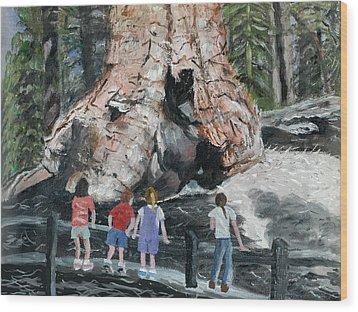 Children At Sequoia National Park Wood Print