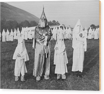 Children In Ku Klux Klan Costumes Pose Wood Print by Everett