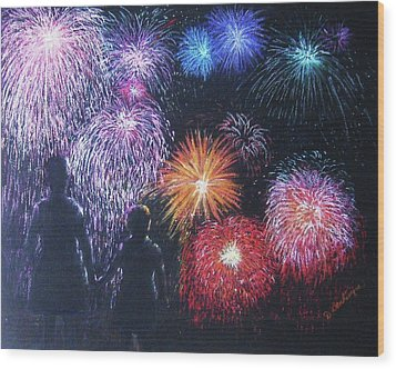 Children On The 4th Of July Wood Print by Diane Larcheveque