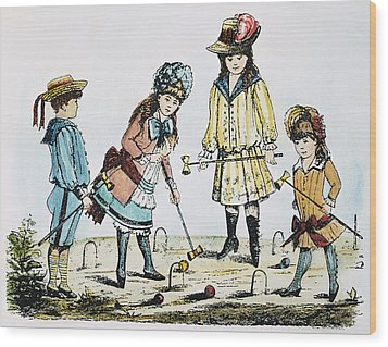Children Playing Croquet Wood Print by Granger