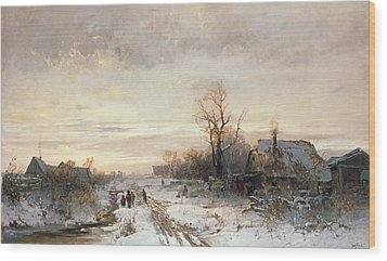 Children Playing In A Winter Landscape Wood Print by August Fink