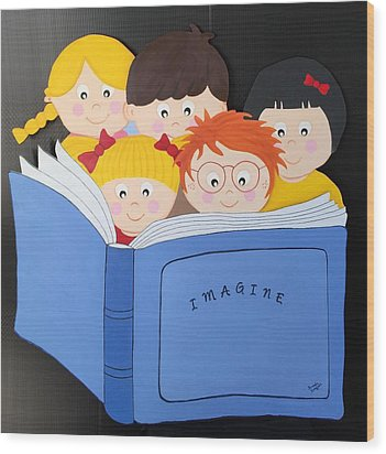 Children Reading Book Wood Print by Brenda Bonfield