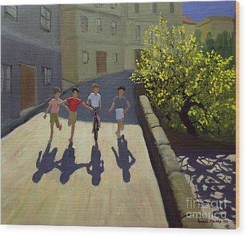 Children Running Wood Print by Andrew Macara