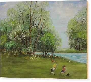 Children Running Wood Print by Irene McDunn