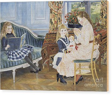 Children's Afternoon At Wargemont Wood Print by Pierre Auguste Renoir