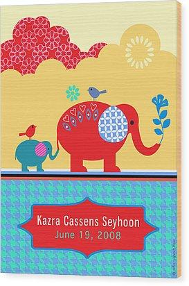 Children's Elephant Poster Wood Print by Misha Maynerick