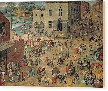 Children's Games Wood Print by Pieter the Elder Bruegel