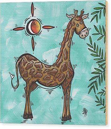 Childrens Nursery Art Original Giraffe Painting Playful By Madart Wood Print by Megan Duncanson