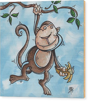 Childrens Whimsical Nursery Art Original Monkey Painting Monkey Buttons By Madart Wood Print by Megan Duncanson
