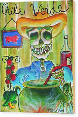 Chile Verde Wood Print by Heather Calderon