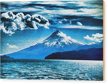 Chilean Volcano Wood Print by Dennis Cox