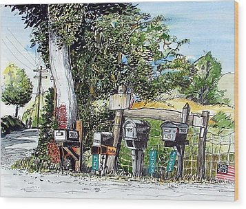 Wood Print featuring the painting Chili Hills Mail Boxes by Terry Banderas