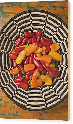 Chili Peppers In Basket  Wood Print by Garry Gay