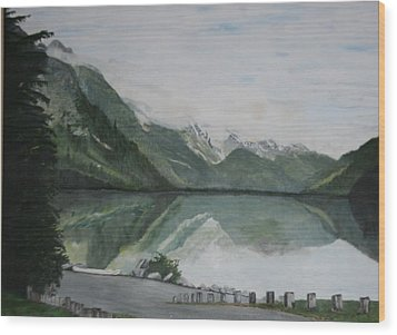 Wood Print featuring the painting Chilkoot Lake Alaska by Betty-Anne McDonald