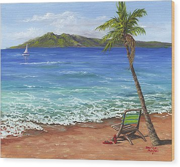 Wood Print featuring the painting Chillaxing Maui Style by Darice Machel McGuire
