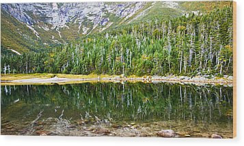 Chimney Pond Reflections 2 Wood Print by Glenn Gordon