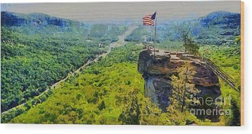 Chimney Rock Nc Wood Print by Elizabeth Coats