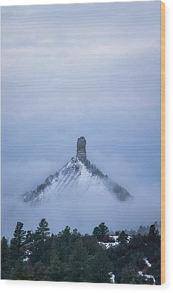 Chimney Rock Rising Wood Print