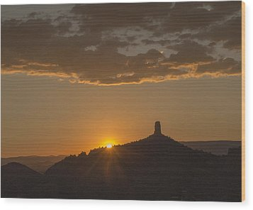 Chimney Rock Sunset Wood Print by Laura Pratt