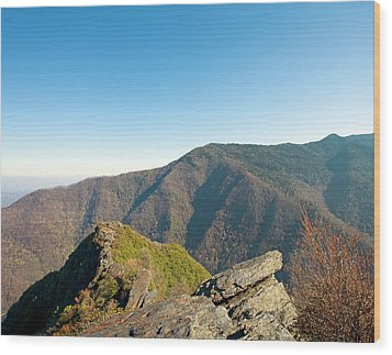 Chimney Tops Vista In Great Smoky Mountain National Park Tennessee Wood Print by Brendan Reals