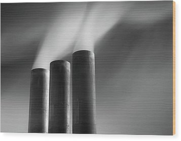 Chimneys Billowing Wood Print by Mark Voce Photography
