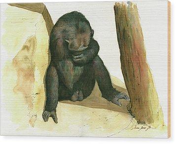 Chimp Wood Print by Juan Bosco