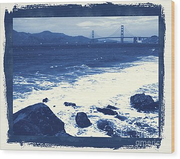China Beach And Golden Gate Bridge With Blue Tones Wood Print by Carol Groenen