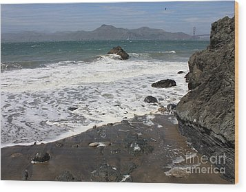 China Beach With Outgoing Wave Wood Print by Carol Groenen