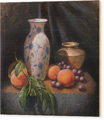 China Brass And Peaches Wood Print by Timothy Jones