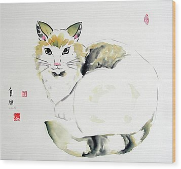 China Cat Wood Print