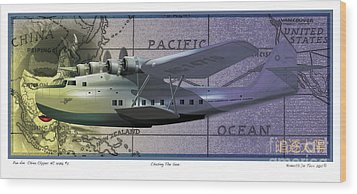 China Clipper Chasing The Sun Wood Print by Kenneth De Tore