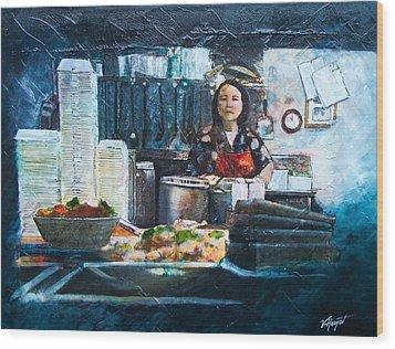 China Kitchen Wood Print by Victoria Heryet