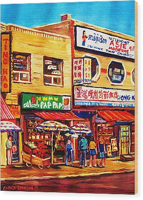 Chinatown Markets Wood Print by Carole Spandau